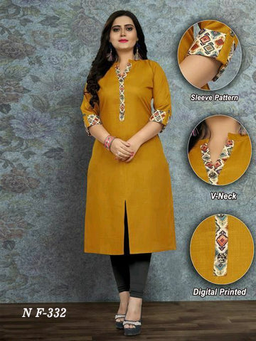 Heavy Cotton Slub Printed Straight Cut Kurti