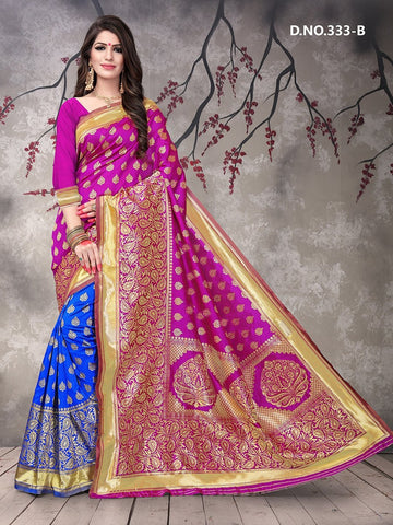 Beautiful Designer Rani Color Polyster Jacquard Silk Saree