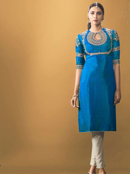 True Blue Kurti Dress with Inner