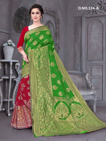 Beautiful Designer Green Color Polyster Jacquard Silk Saree