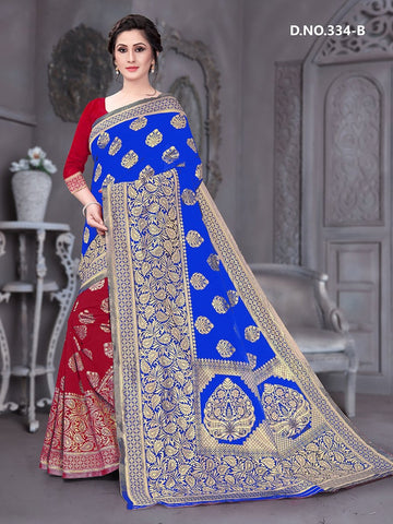 Beautiful Designer Blue Color Polyster Jacquard Silk Saree