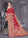 Beautiful Designer Red Color Polyster Jacquard Silk Saree