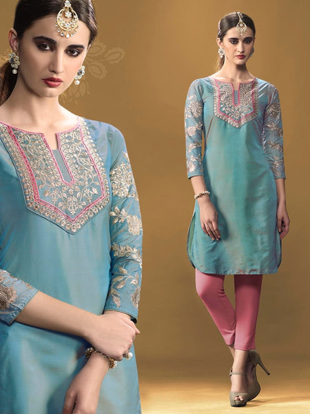 Stone Blue Kurti Dress with Inner