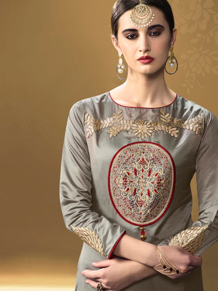 Shiny Grey Kurti Dress with Inner