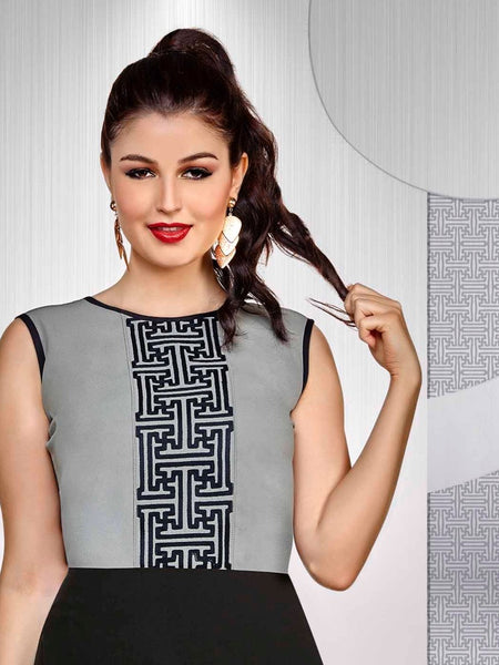 Grey and Black Fashion Top - PurpleTulsi.com