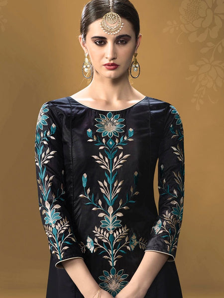 Velvet Black Kurti Dress with Inner