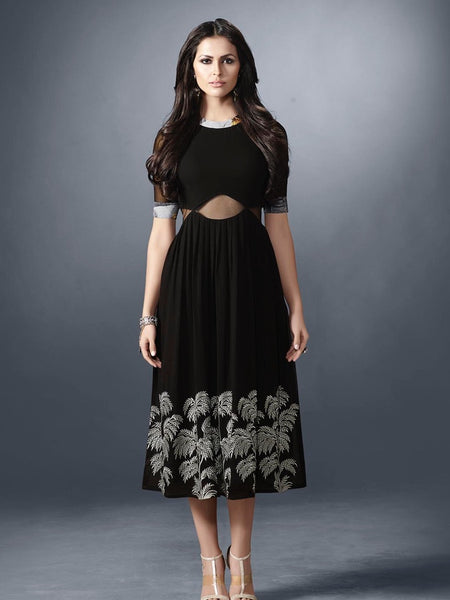Ink Black Designer Dress - PurpleTulsi.com  - 1