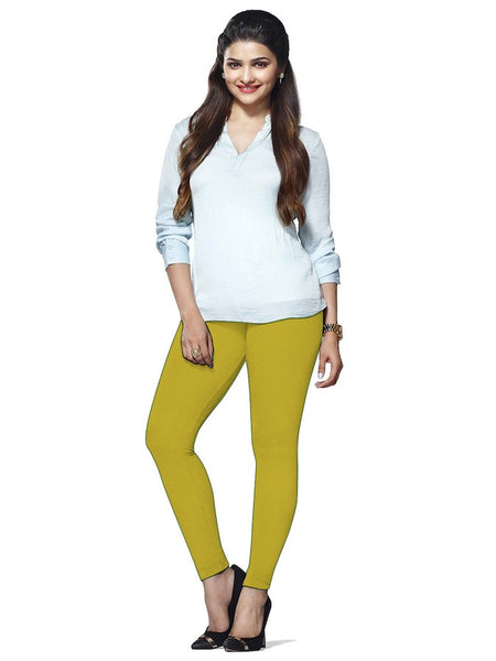 Corn Yellow Cotton Lycra Leggings - PurpleTulsi.com