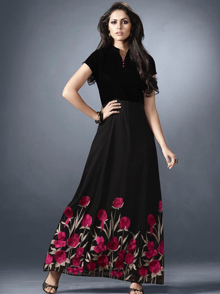 Coal Black Designer Dress - PurpleTulsi.com  - 1