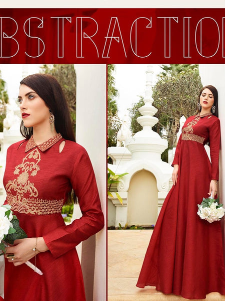 Currant Red Bhagalpuri Silk Gown