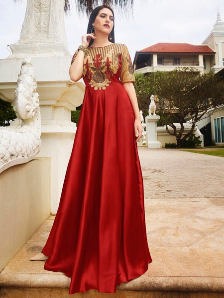 Berry Red Satin Silk Dress