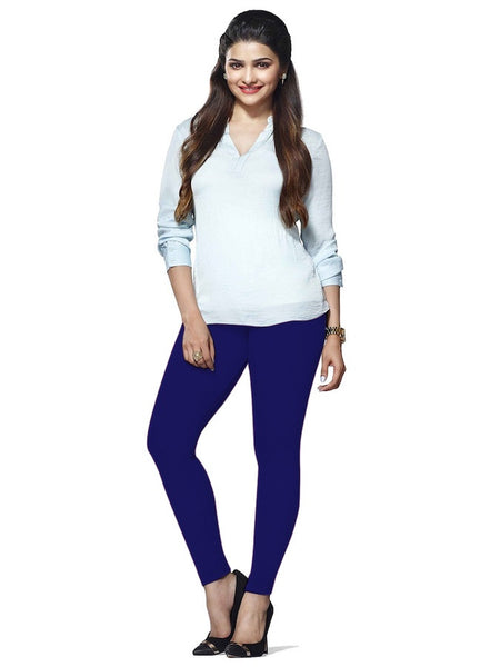 Navy Blue Cotton Lycra Leggings - PurpleTulsi.com
