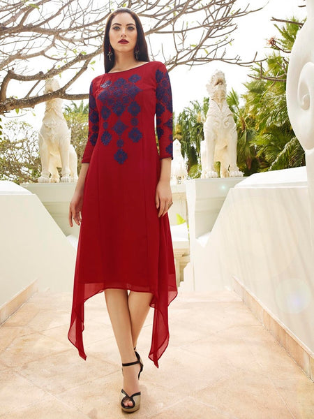 Garnet Red Georgette Dress