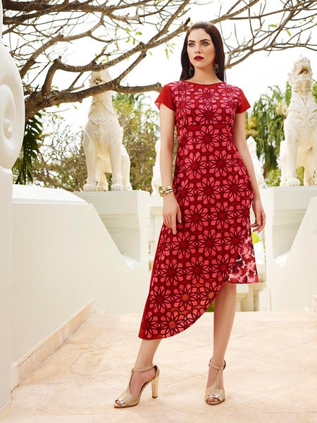 Dark Red Georgette and Crepe Dress