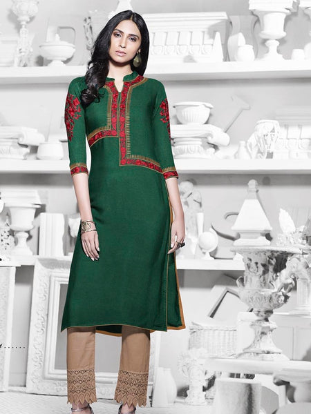 Bottle Green Premium Rayon Kurti