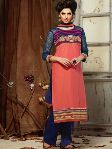 Coral Pink and Navy Blue Straight Cut Suit