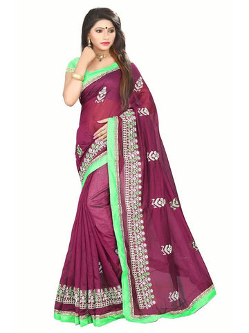 Chanderi Cotton Maroon  Embroidered Saree With Blouse
