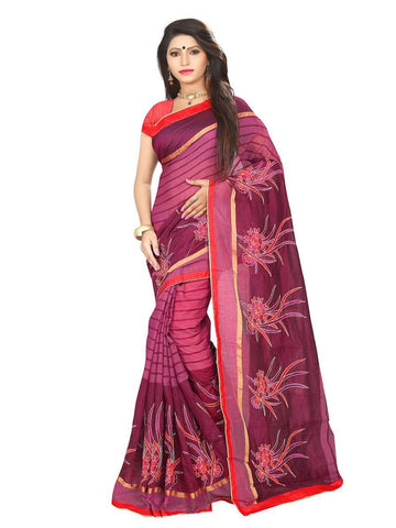 Chanderi Cotton Brown & Maroon  Embroidered Saree With Blouse