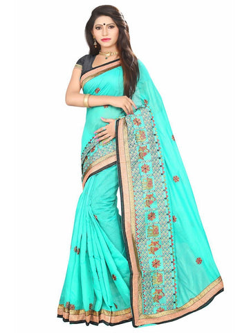 Chanderi Cotton Sea Green Embroidered Saree With Blouse