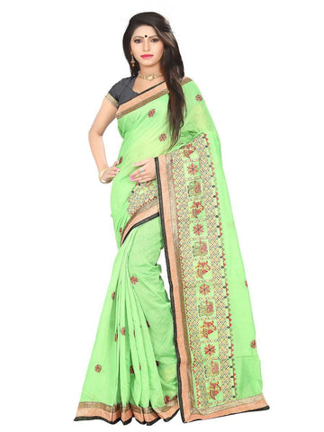 Chanderi Cotton Light Green Embroidered Saree With Blouse