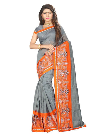 Chanderi Cotton Grey & Orange Embroidered Saree With Blouse
