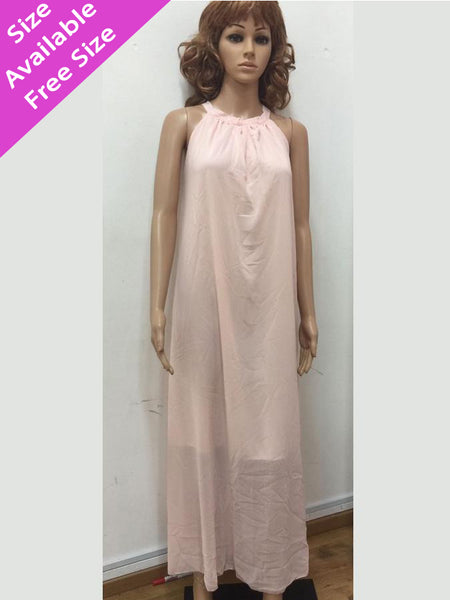Peach Plain Maxi Dress