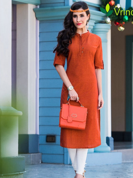 Dark Orange Cotton Kurti