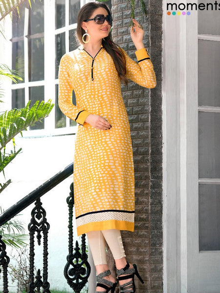 Yellow with White Print Rayon Kurti