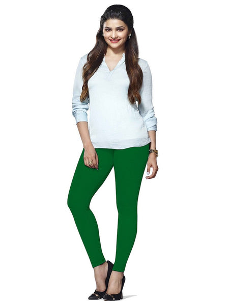 Emerald Green Cotton Lycra Leggings - PurpleTulsi.com