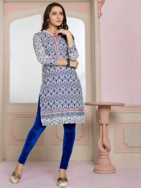 Blue Design Cotton Kurti With Embroidery