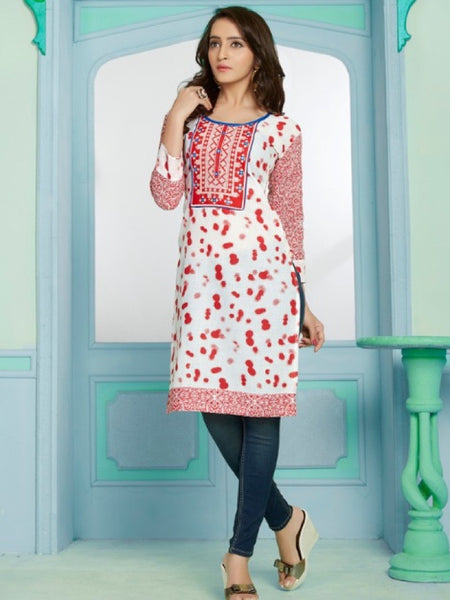 Red and White Cotton Kurti With Embroidery