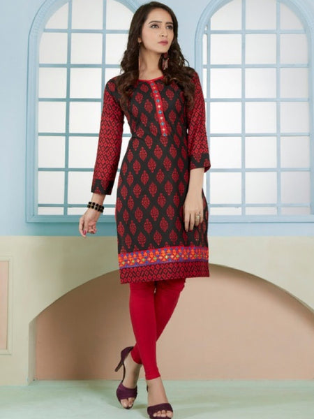 Dark Red and Black Cotton Kurti With Embroidery