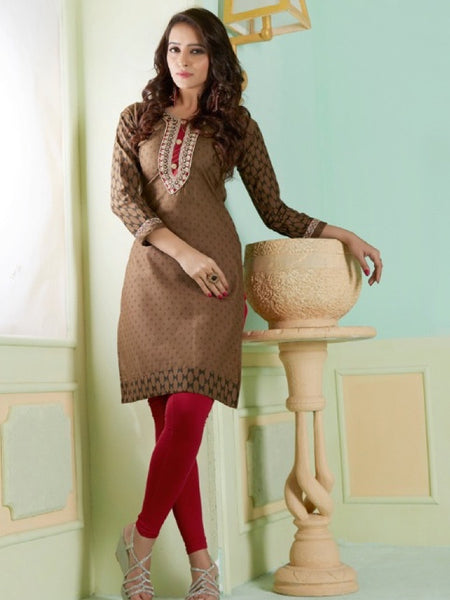 Brown and Black Cotton Kurti With Embroidery