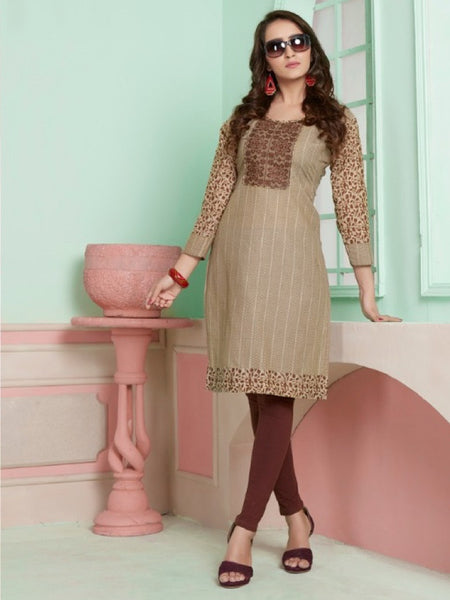 New Brown Cotton Kurti With Embroidery