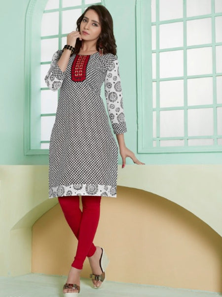 Black and White Cotton Kurti With Embroidery