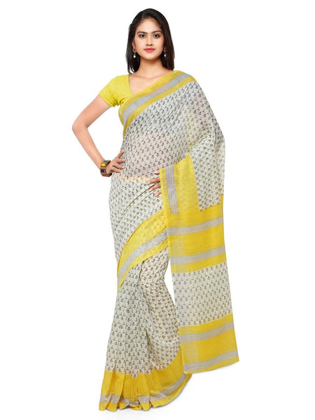 Off White and Yellow Cotton Silk Saree