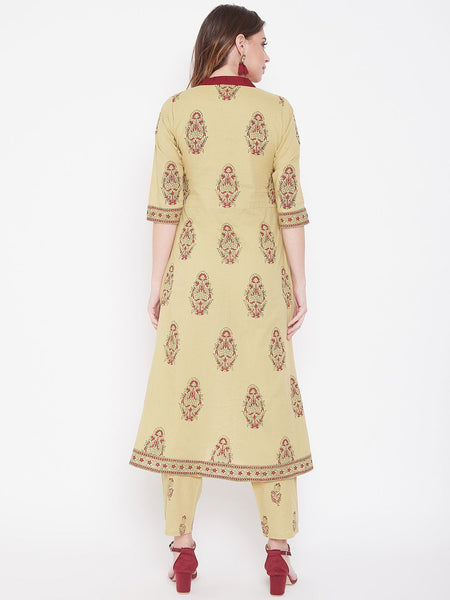 Beige Cotton Printed Straight Kurti with Pant