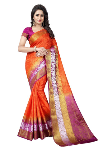 Beautiful Orange Color Printed Tussar Silk Saree