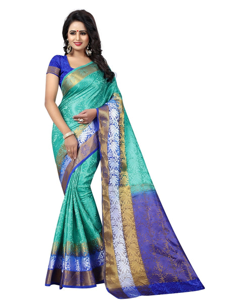 Beautiful Light Blue Color Printed Tussar Silk Saree