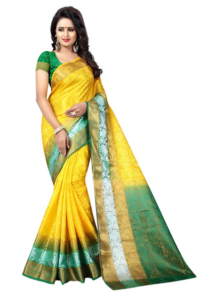 Beautiful Yellow Color Printed Tussar Silk Saree