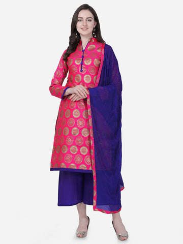 Pink Brocade Embroidered Straight Cut Suit