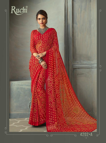 Designer Red Color Chiffon Saree