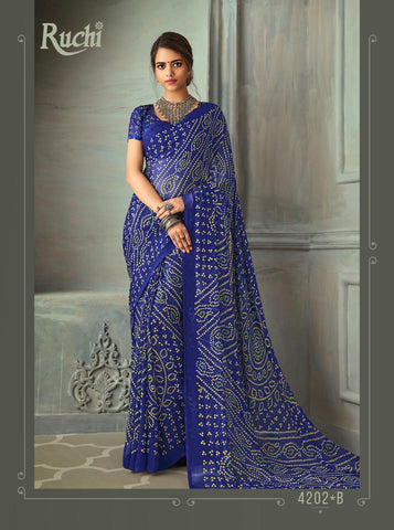 Designer Blue Color Chiffon Saree