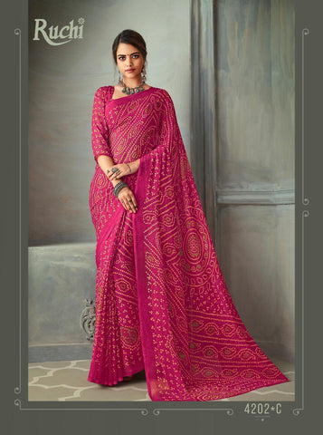 Designer Pink Color Chiffon Saree