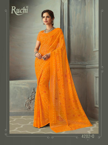 Designer Orange Color Chiffon Saree