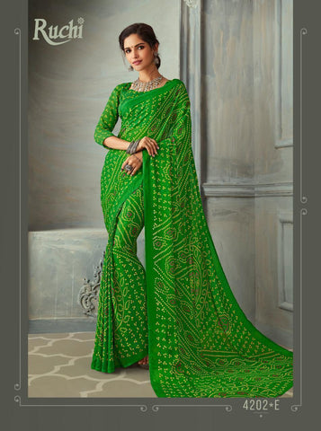 Designer Green Color Chiffon Saree