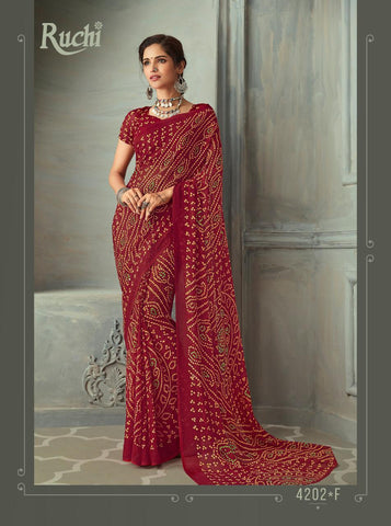 Designer Maroon Color Chiffon Saree