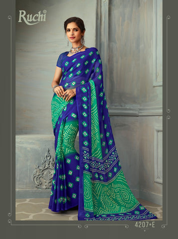 Designer Multi Color Chiffon Saree