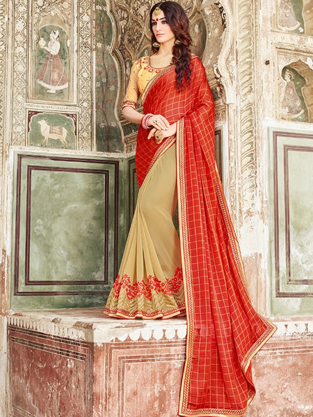 Crimson Red and Gold Georgette Saree - PurpleTulsi.com  - 1