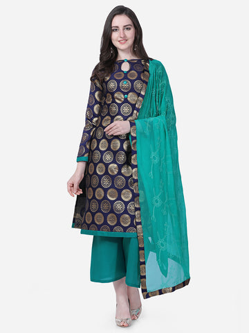 Blue Brocade Embroidered Straight Cut Suit